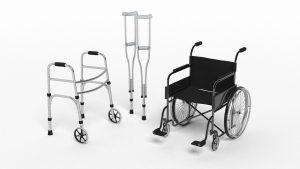Bilde av 3D modell av rullestol, krykker, og rullator