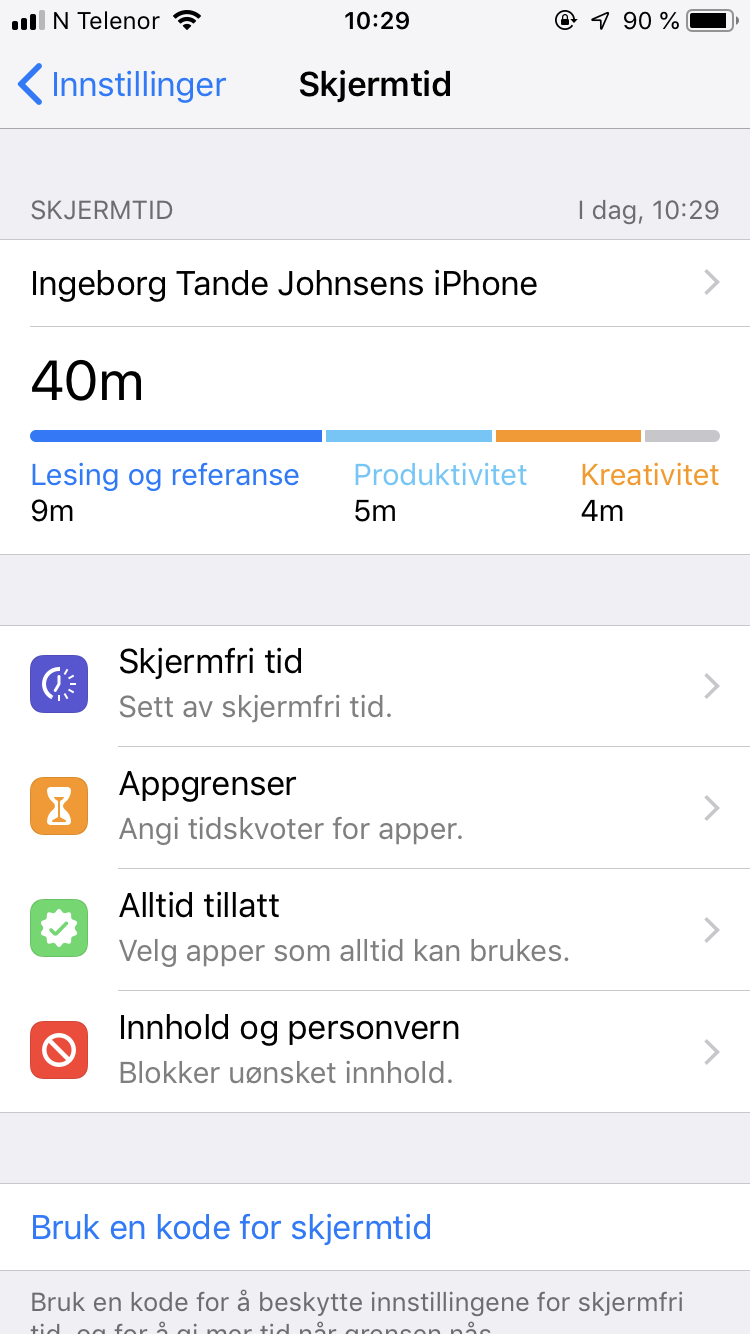 Skjermdump av Apples Skjermtid på iPhone.