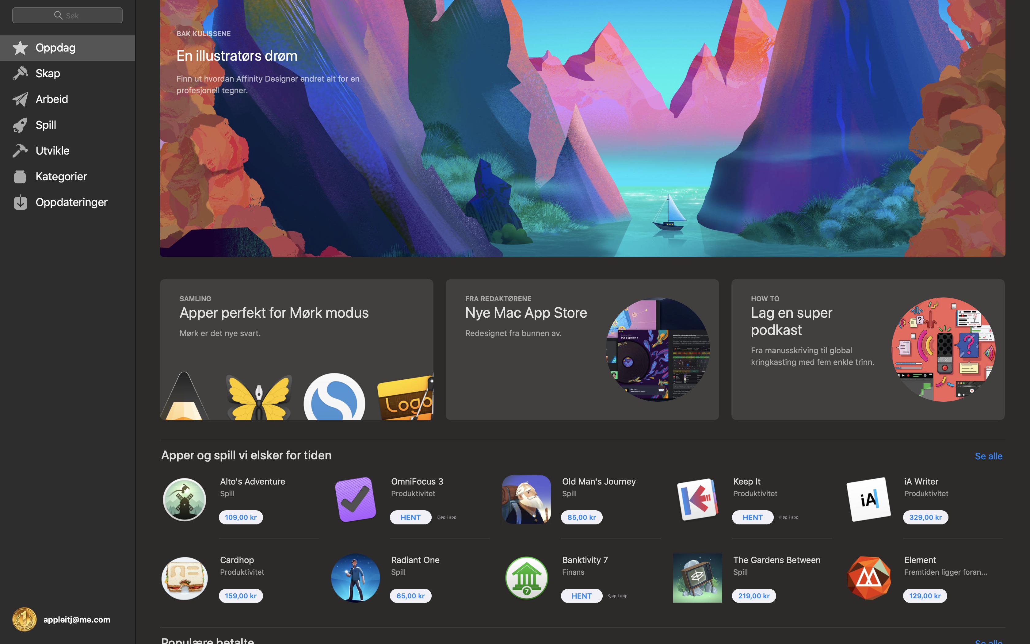 App Store i mørkt tema