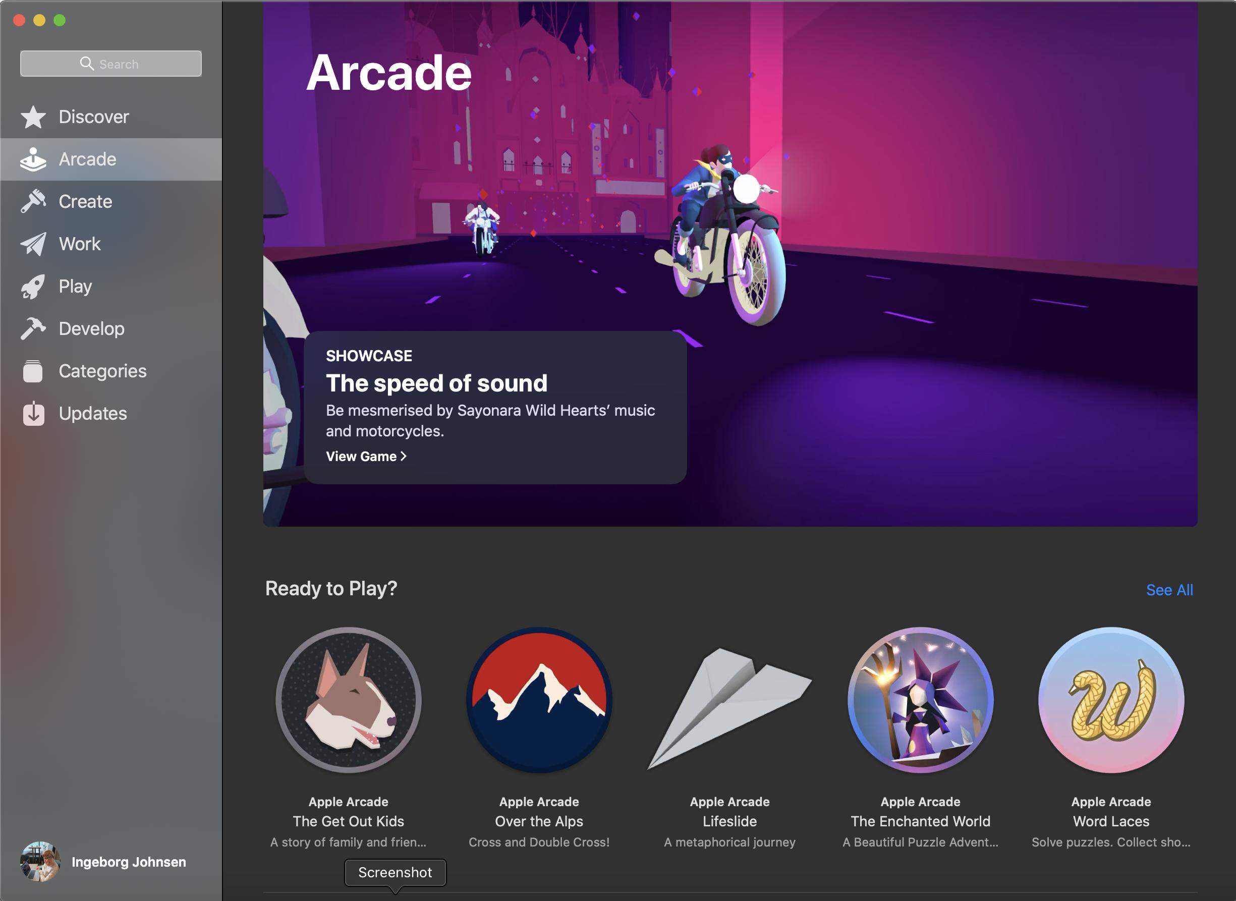 Viser Apple Arcade på MacOS.