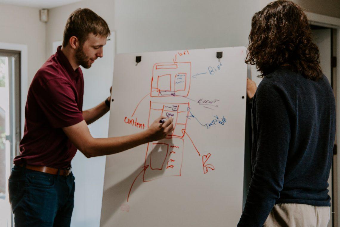 Forsidebilde - En mann og en dame som skriver ned tankene sine på et whiteboard. Foto: Unplash.